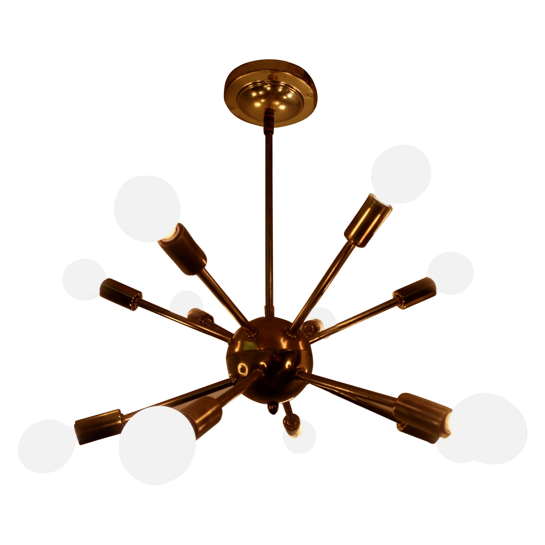 Mid-Century Modern Vintage Brass Sputnik Chandelier, circa 1955