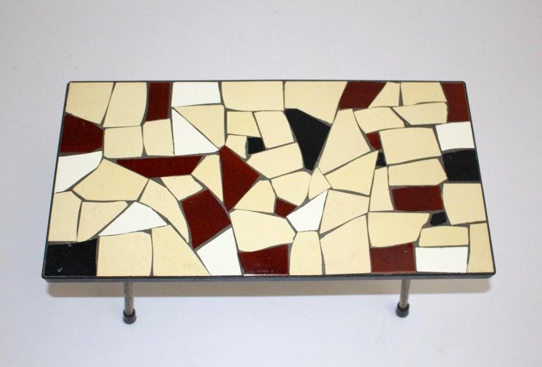 Austrian Mid-Century Modern Vintage Brass White Brown Ceramic Tile Sofa Table, circa 1950 For Sale