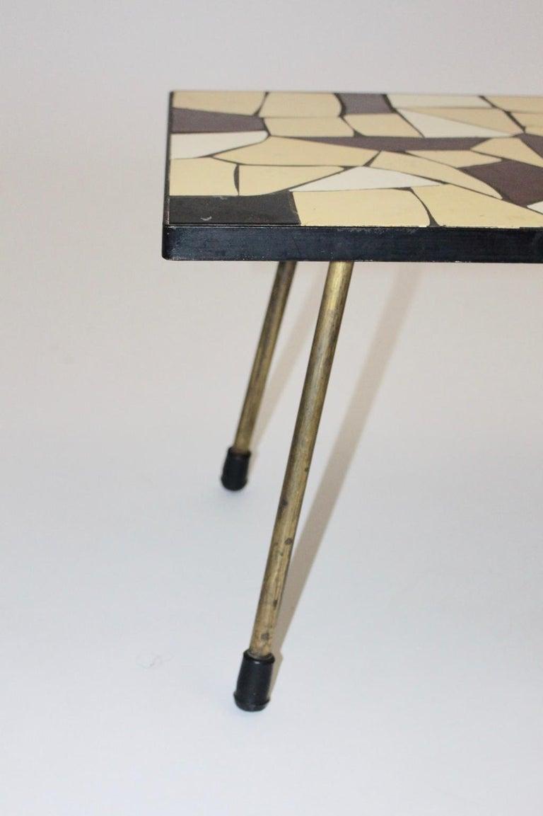 20th Century Mid-Century Modern Vintage Brass White Brown Ceramic Tile Sofa Table, circa 1950 For Sale