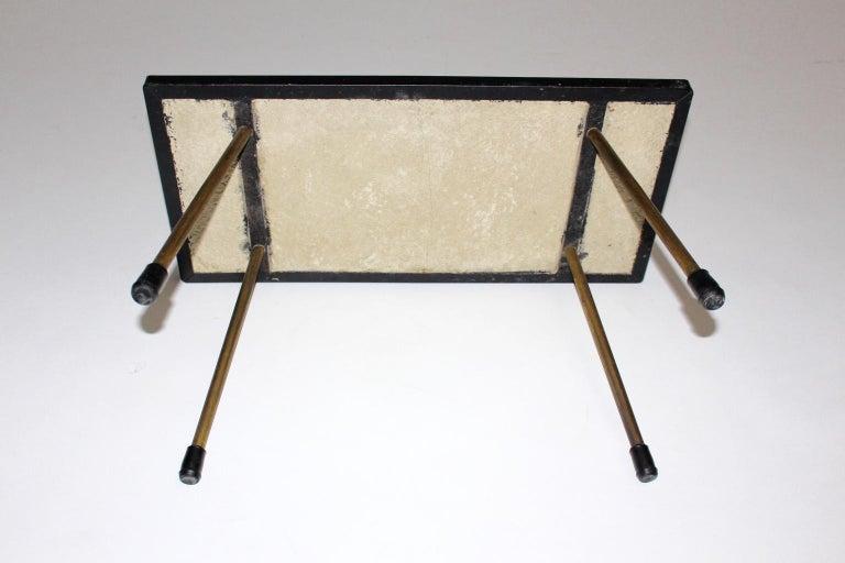 Mid-Century Modern Vintage Brass White Brown Ceramic Tile Sofa Table, circa 1950 For Sale 1