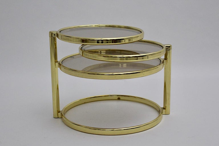Mid-Century Modern Vintage Brassed Metal Glass Swiveling Coffee Table circa 1970 For Sale 3