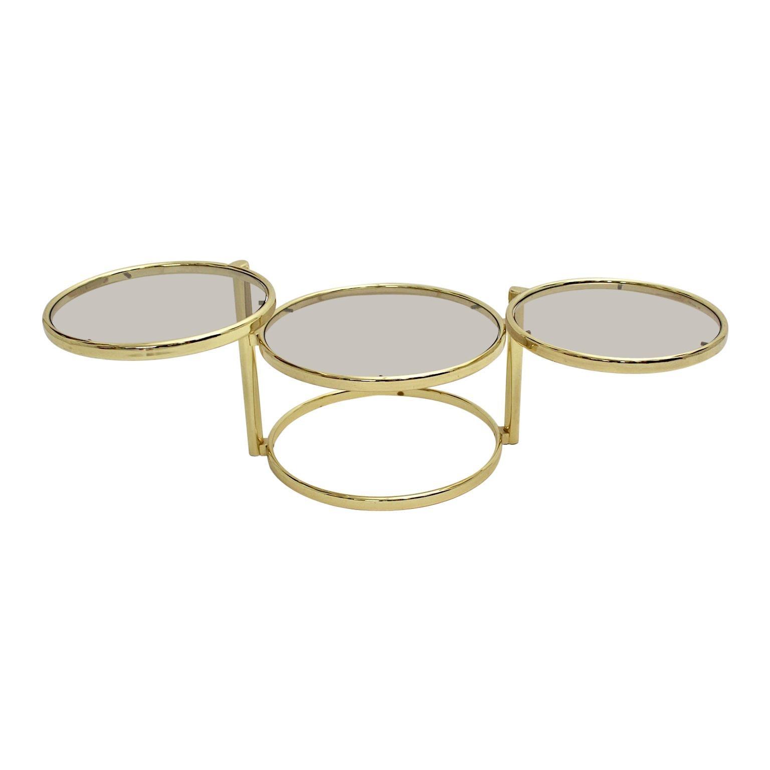 Mid-Century Modern Vintage Brassed Metal Glass Swiveling Coffee Table circa 1970