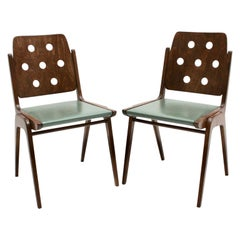 Mid-Century Modern Vintage Brown and Green Dining Chairs by Franz Schuster 1950s