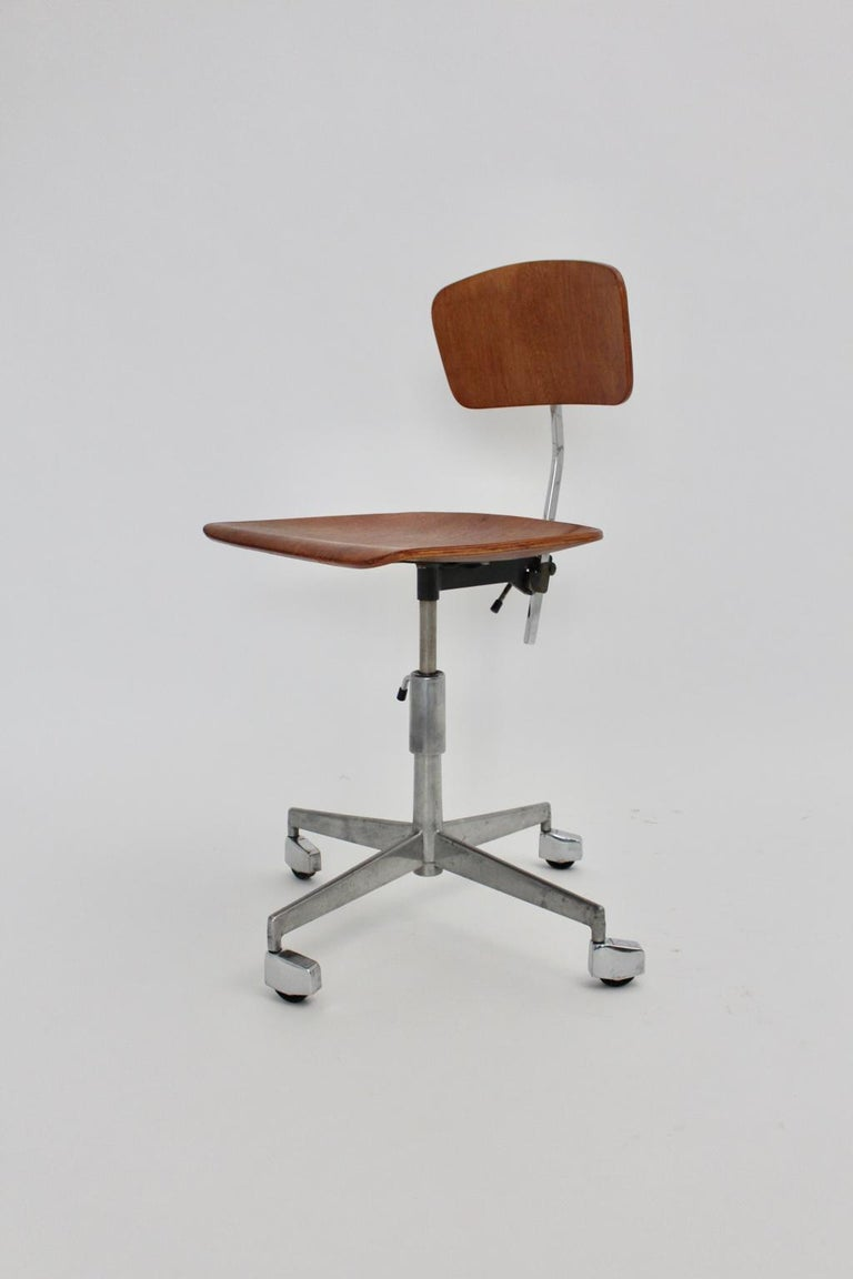 Mid-Century Modern Vintage Brown Beech Desk Chair Jorgen Rasmussen 1950s Denmark For Sale 3