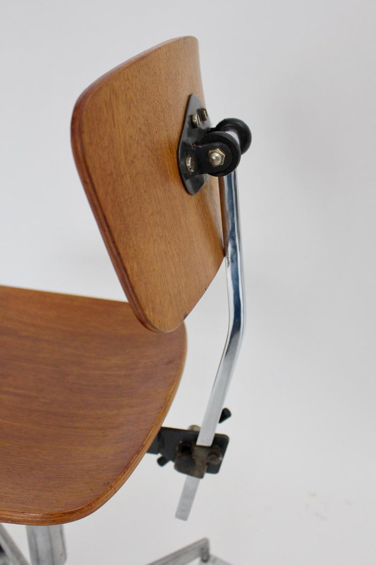 Mid-Century Modern Vintage Brown Beech Desk Chair Jorgen Rasmussen 1950s Denmark For Sale 4