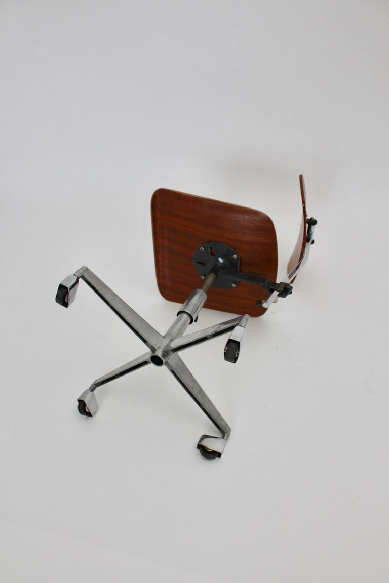 Mid-Century Modern Vintage Brown Beech Desk Chair Jorgen Rasmussen 1950s Denmark For Sale 6