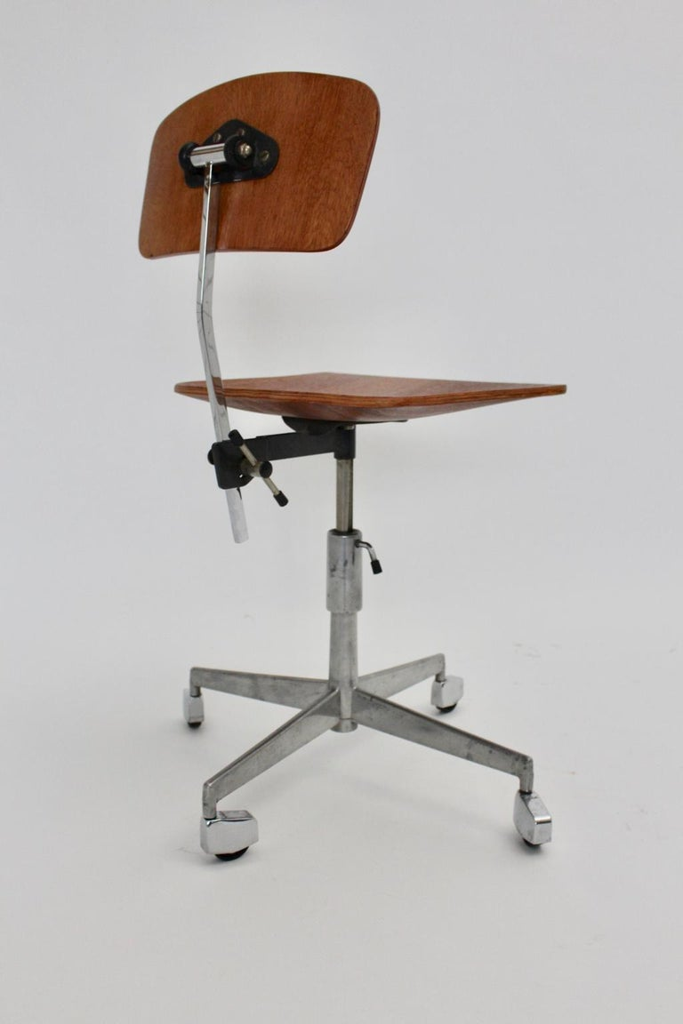 20th Century Mid-Century Modern Vintage Brown Beech Desk Chair Jorgen Rasmussen 1950s Denmark For Sale