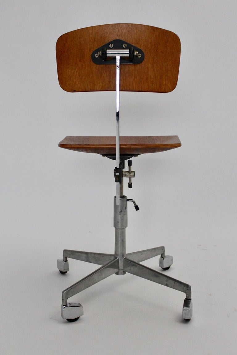 Metal Mid-Century Modern Vintage Brown Beech Desk Chair Jorgen Rasmussen 1950s Denmark For Sale