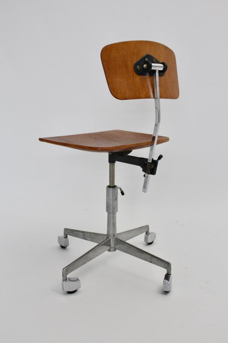 Mid-Century Modern Vintage Brown Beech Desk Chair Jorgen Rasmussen 1950s Denmark For Sale 1
