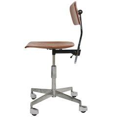 Mid-Century Modern Vintage Brown Beech Desk Chair Jorgen Rasmussen 1950s Denmark