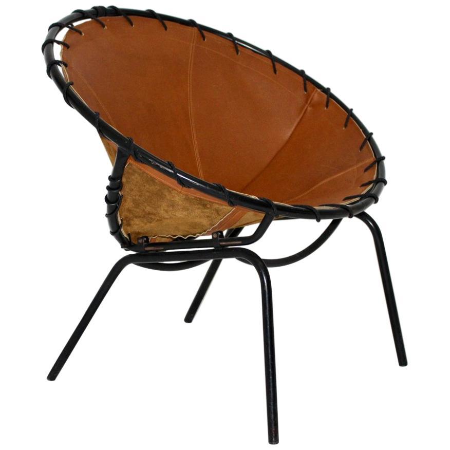 Mid-Century Modern Vintage Brown Leather Club Chair circa 1950