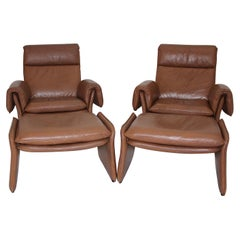 Mid-Century Modern Vintage Brown Leather Two Lounge Chairs and Ottoman 1960