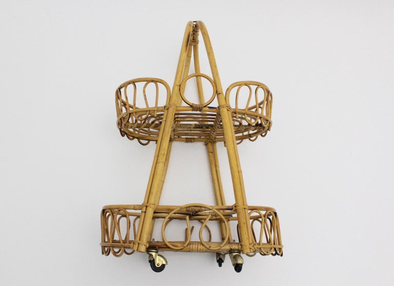 Mid-20th Century Mid-Century Modern Vintage Brown Rattan Bar Cart 1950s Italy For Sale