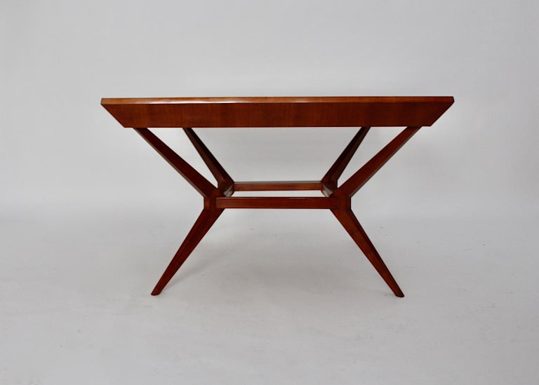 Mid-20th Century Mid-Century Modern Vintage Cherry Dining Table Franz Schuster Attributed, Vienna For Sale