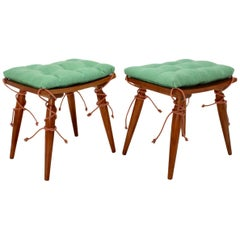 Mid-Century Modern Vintage Cherrywood Stools with Green Cushions, Vienna, 1950s