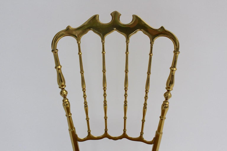 Italian Mid-Century Modern Vintage Chiavari Brass Side Chair or Chair, 1950s, Italy For Sale