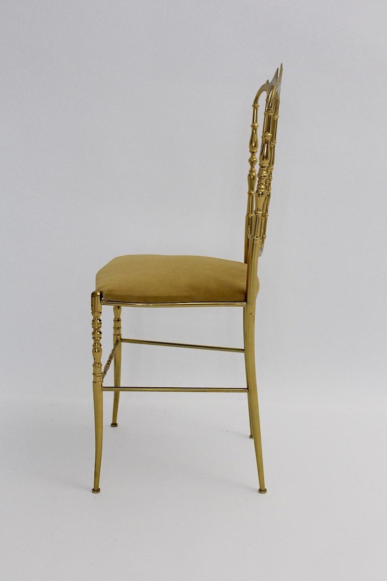 20th Century Mid-Century Modern Vintage Chiavari Brass Side Chair or Chair, 1950s, Italy For Sale