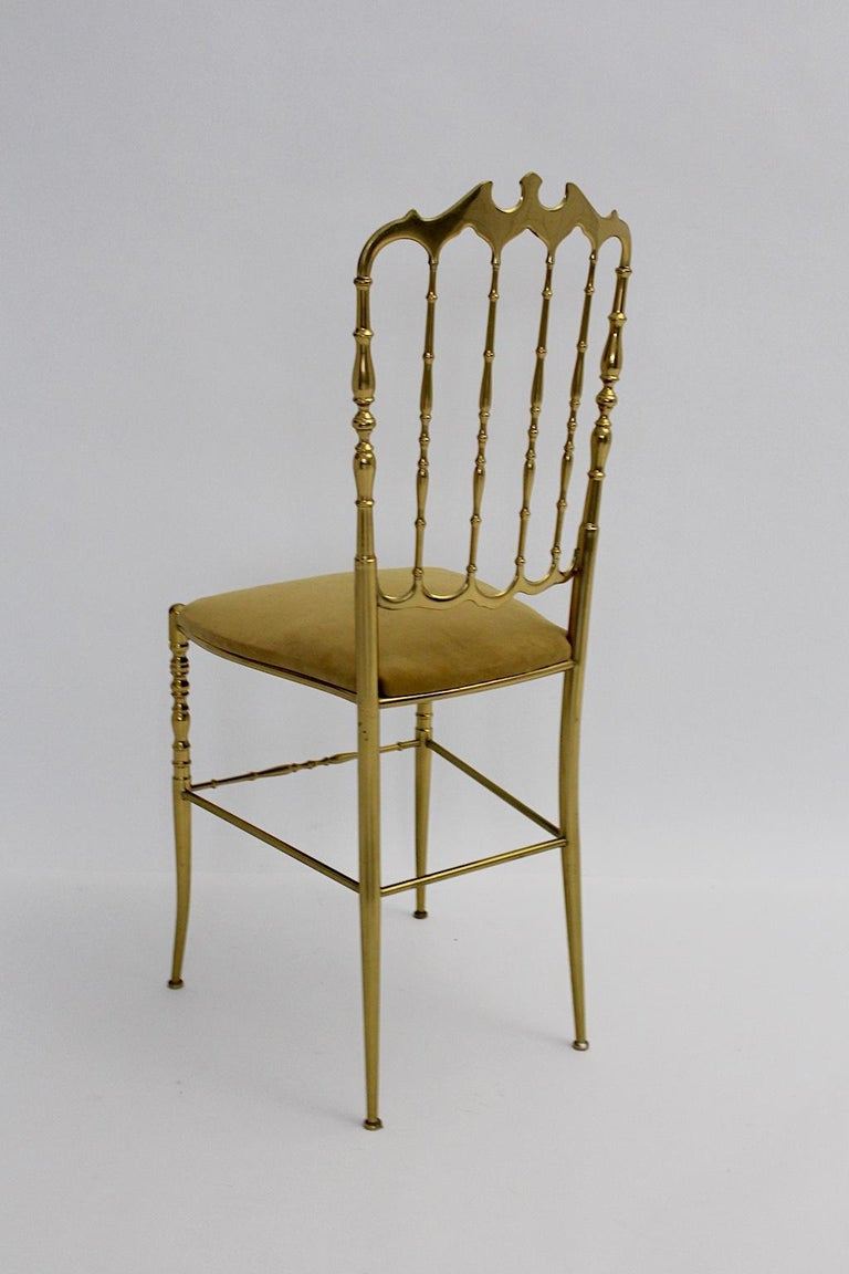 Mid-Century Modern Vintage Chiavari Brass Side Chair or Chair, 1950s, Italy For Sale 1