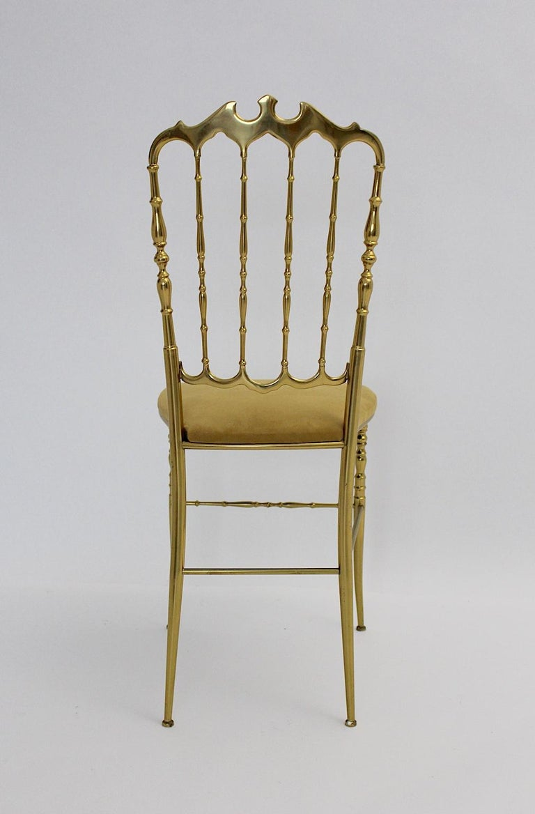 Mid-Century Modern Vintage Chiavari Brass Side Chair or Chair, 1950s, Italy For Sale 2