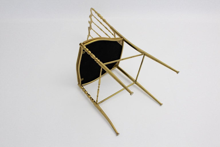 Mid-Century Modern Vintage Chiavari Brass Side Chair or Chair, 1950s, Italy For Sale 3