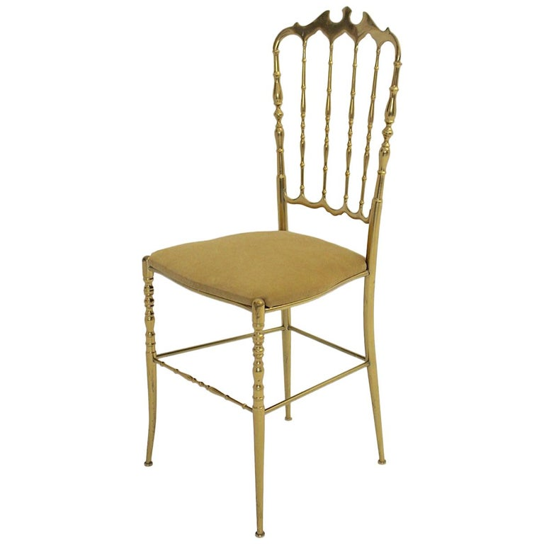 Mid-Century Modern Vintage Chiavari Brass Side Chair or Chair, 1950s, Italy For Sale