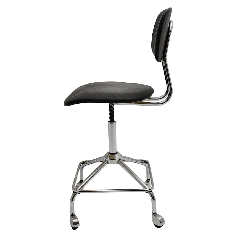 Mid-Century Modern Vintage Chromed Black Desk Chair Office Chair, 1950s, Germany