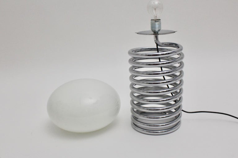 Mid-Century Modern Vintage Chromed Glass Table Lamp by Ingo Maurer 1968, Germany For Sale 8