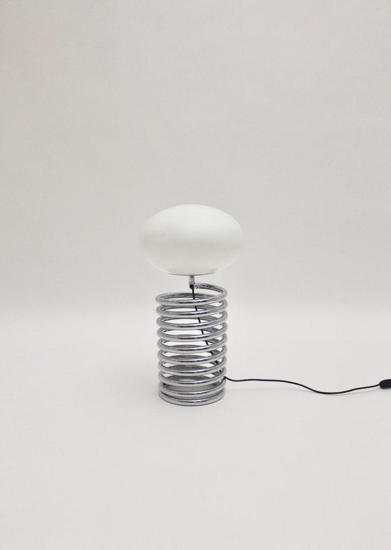 Mid-Century Modern Vintage Chromed Glass Table Lamp by Ingo Maurer 1968, Germany For Sale 1