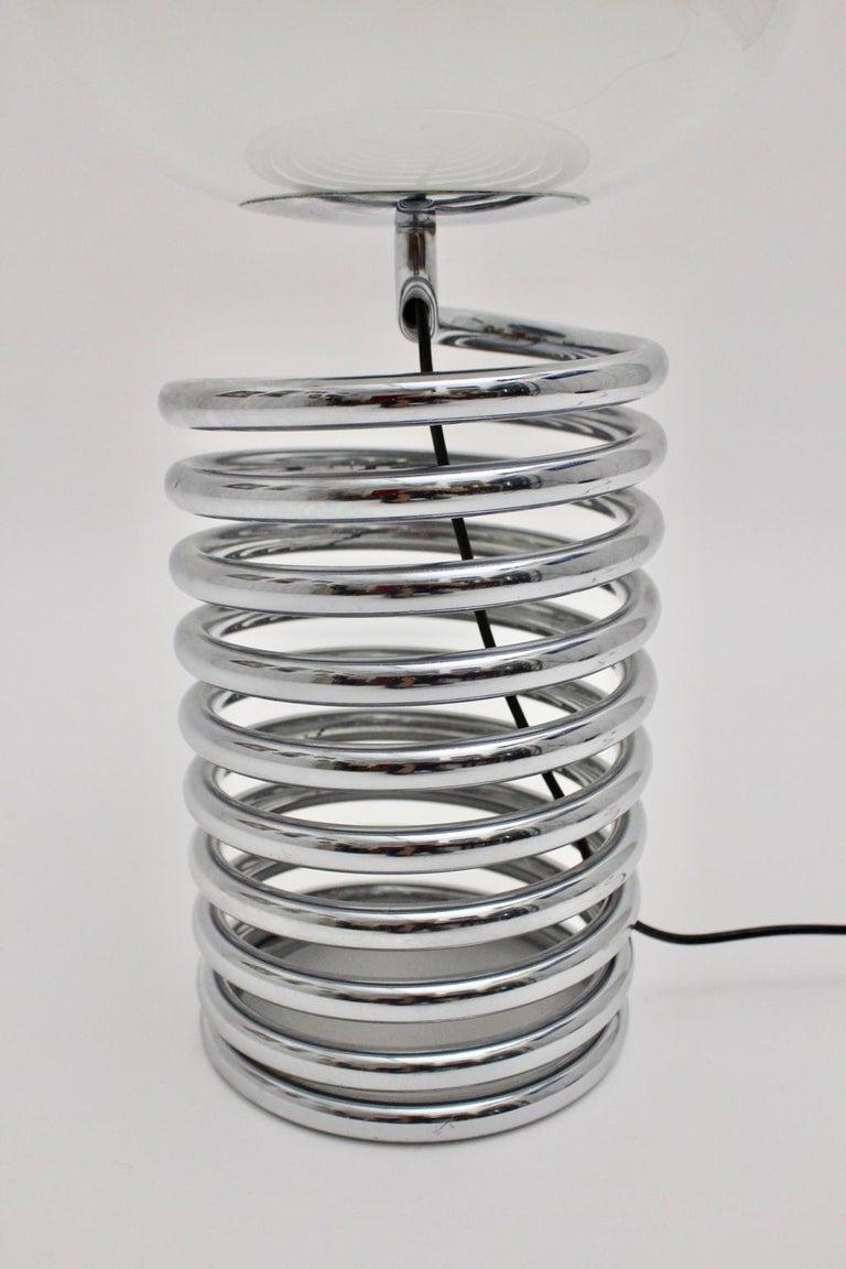 Mid-Century Modern Vintage Chromed Glass Table Lamp by Ingo Maurer 1968, Germany For Sale 2