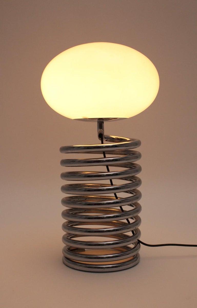 Mid-Century Modern Vintage Chromed Glass Table Lamp by Ingo Maurer 1968, Germany For Sale 3