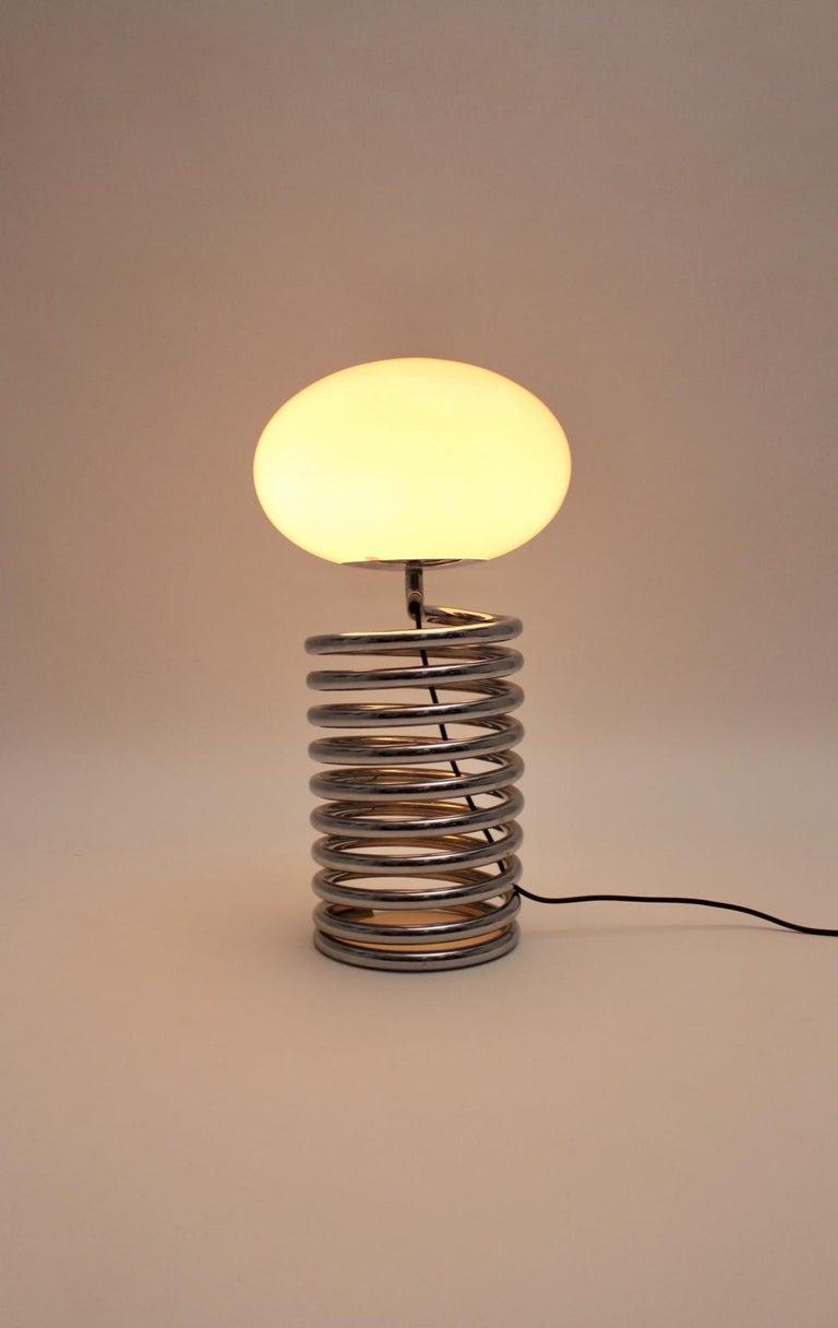 Mid-Century Modern Vintage Chromed Glass Table Lamp by Ingo Maurer 1968, Germany For Sale 4