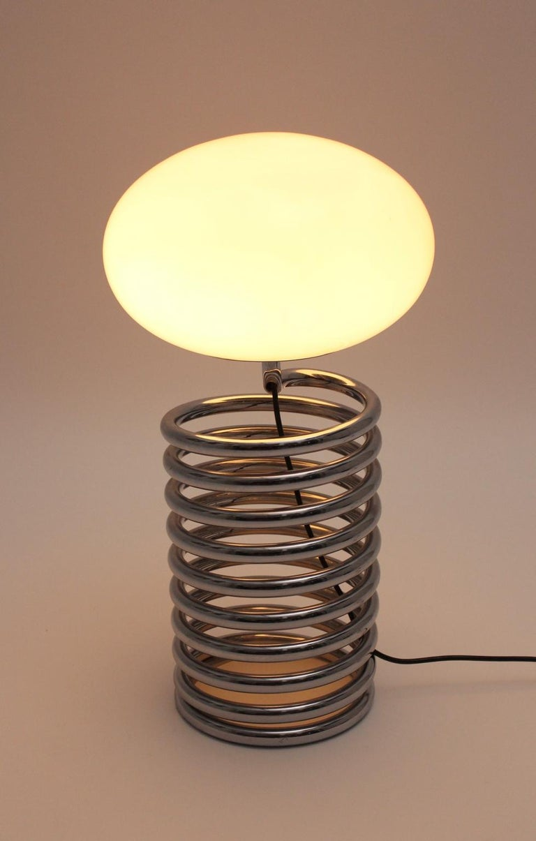 Mid-Century Modern Vintage Chromed Glass Table Lamp by Ingo Maurer 1968, Germany For Sale 5