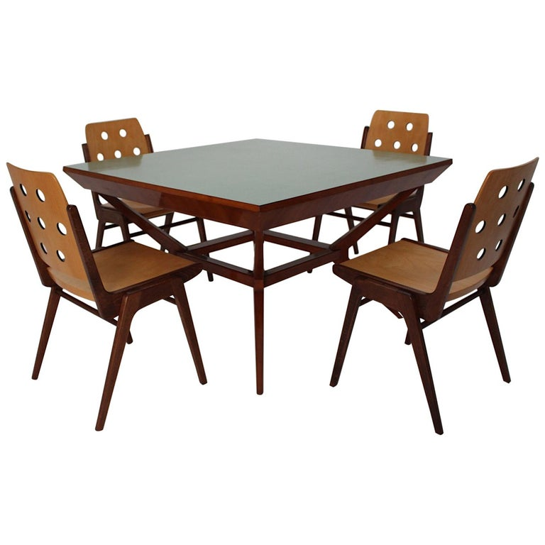 Mid Century Modern Vintage Dining Chairs And Dining Table Franz Schuster 1950s For Sale At 1stdibs