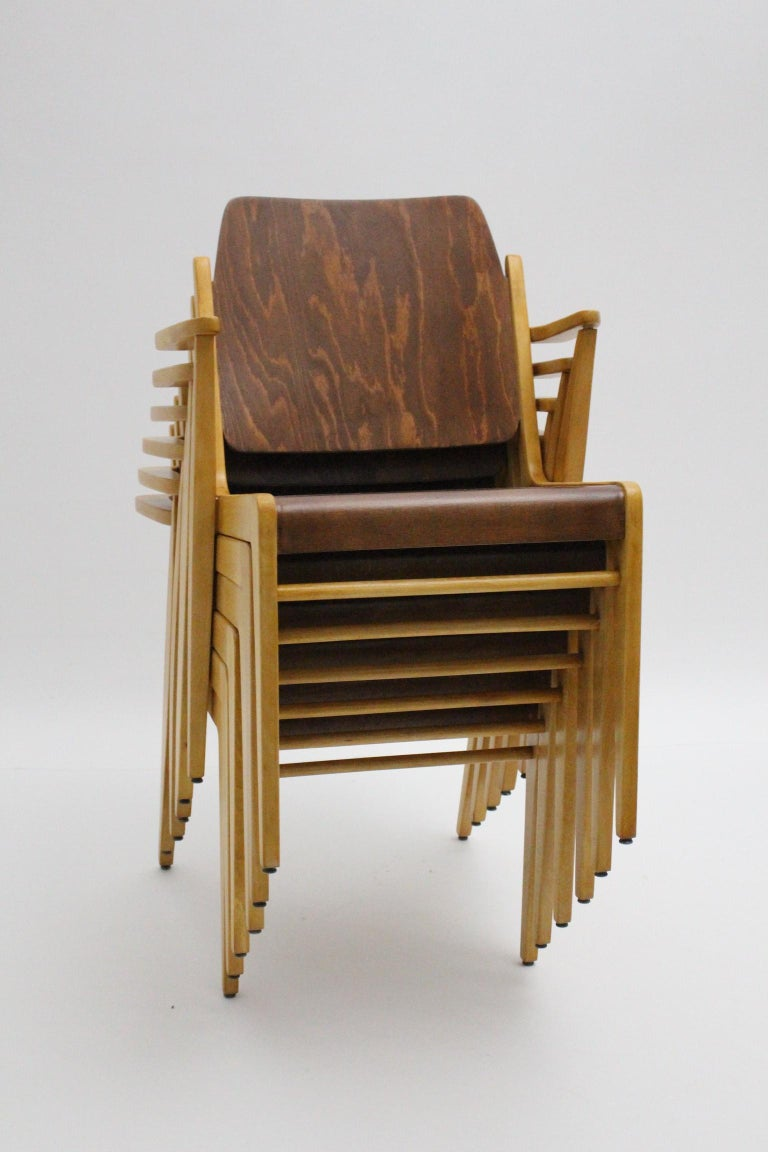 Mid-Century Modern Vintage Dining Room Chairs by Franz Schuster 1959 Set of Six For Sale 4