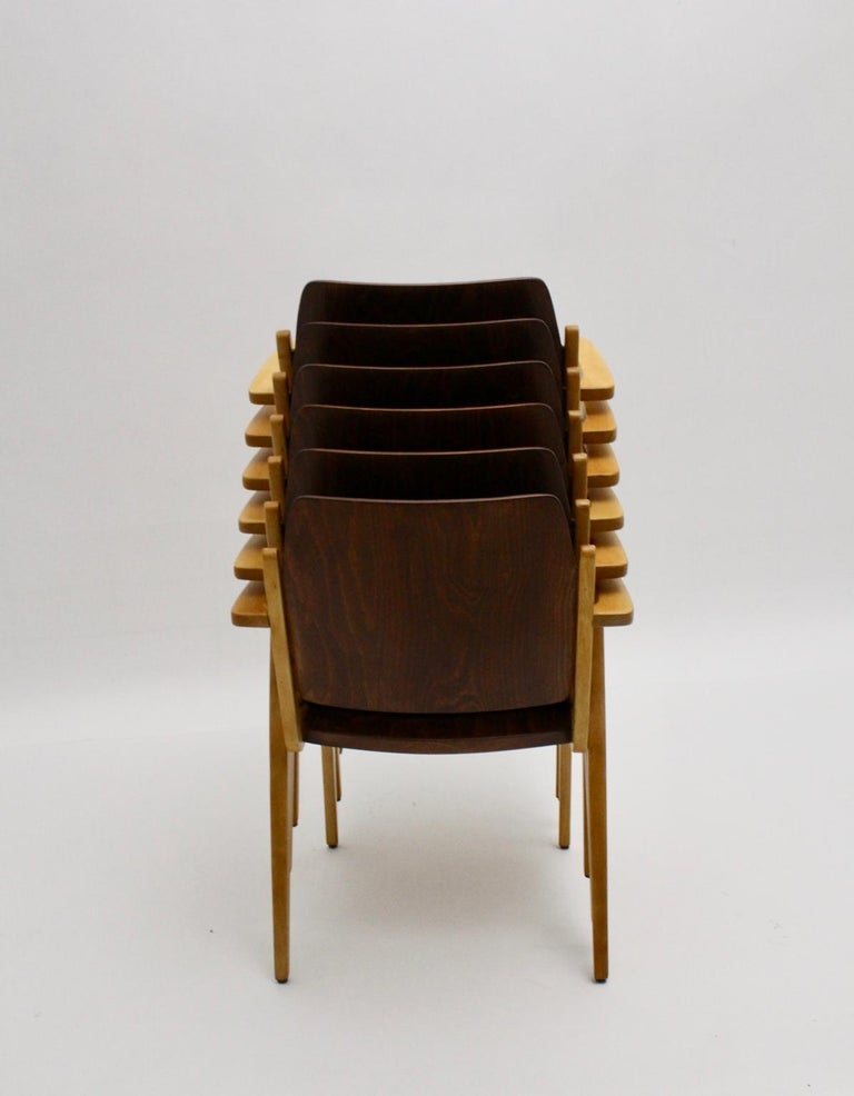 Mid-Century Modern Vintage Dining Room Chairs by Franz Schuster 1959 Set of Six For Sale 5