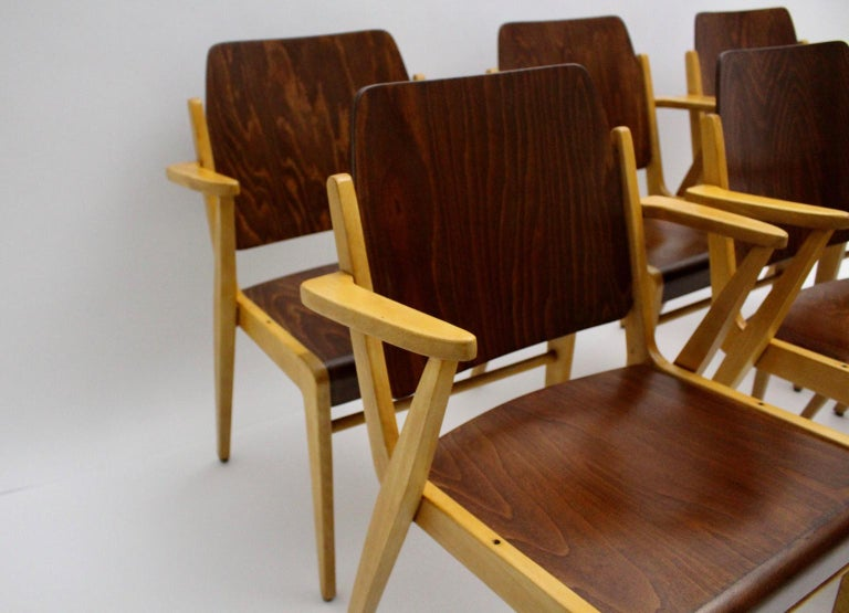 Mid-Century Modern Vintage Dining Room Chairs by Franz Schuster 1959 Set of Six For Sale 10