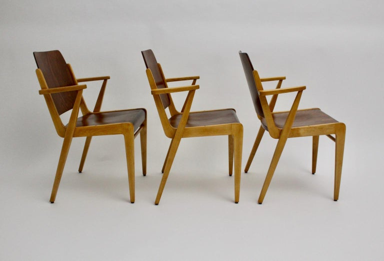 Mid-Century Modern Vintage Dining Room Chairs by Franz Schuster 1959 Set of Six For Sale 2