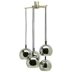 Mid-Century Modern Vintage Dutch Chrome 5 Globe Hanging Pendant, 1960s