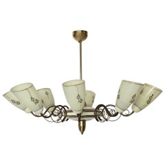 Mid-Century Modern Vintage Eight Arms Brass Ivory Glass Chandelier 1950 Italy