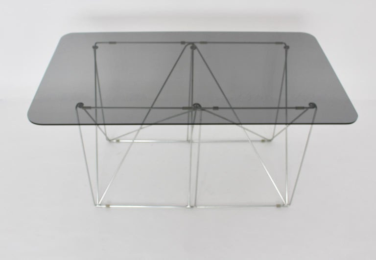 Mid-Century Modern Vintage Foldable Metal Dining Table Max Sauze, circa 1970 For Sale 6
