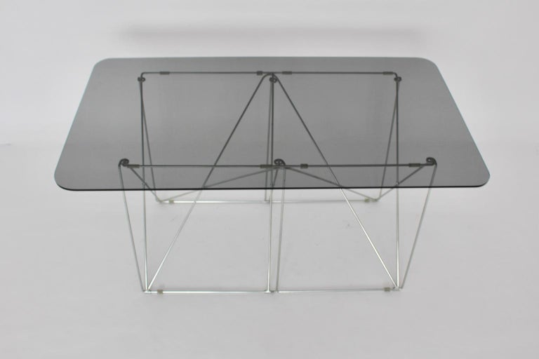 Mid-Century Modern Vintage Foldable Metal Dining Table Max Sauze, circa 1970 For Sale 7
