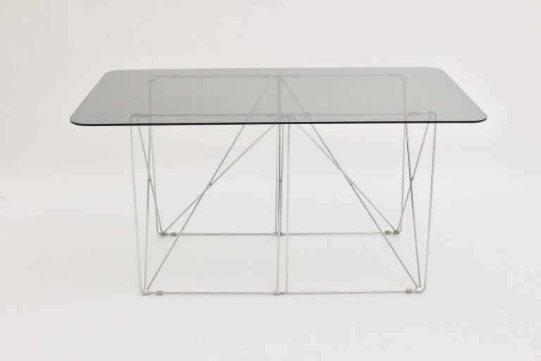 French Mid-Century Modern Vintage Foldable Metal Dining Table Max Sauze, circa 1970 For Sale