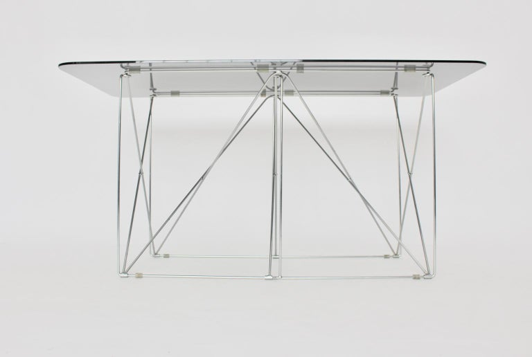 Mid-Century Modern Vintage Foldable Metal Dining Table Max Sauze, circa 1970 In Good Condition For Sale In Vienna, AT