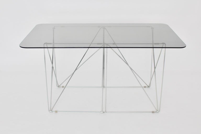 Late 20th Century Mid-Century Modern Vintage Foldable Metal Dining Table Max Sauze, circa 1970 For Sale