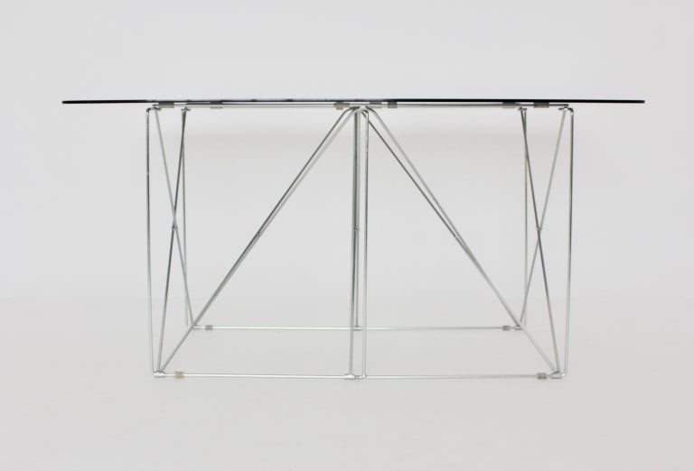 Mid-Century Modern Vintage Foldable Metal Dining Table Max Sauze, circa 1970 For Sale 1