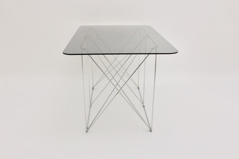 Mid-Century Modern Vintage Foldable Metal Dining Table Max Sauze, circa 1970 For Sale 2