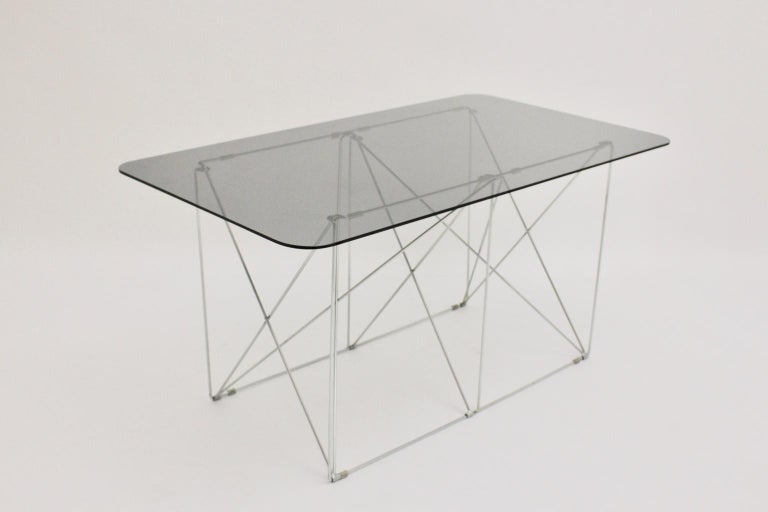 Mid-Century Modern Vintage Foldable Metal Dining Table Max Sauze, circa 1970 For Sale 3