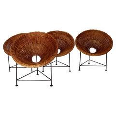 Mid-Century Modern Vintage Four Vintage Willow Lounge Patio Chairs 1950s Austria