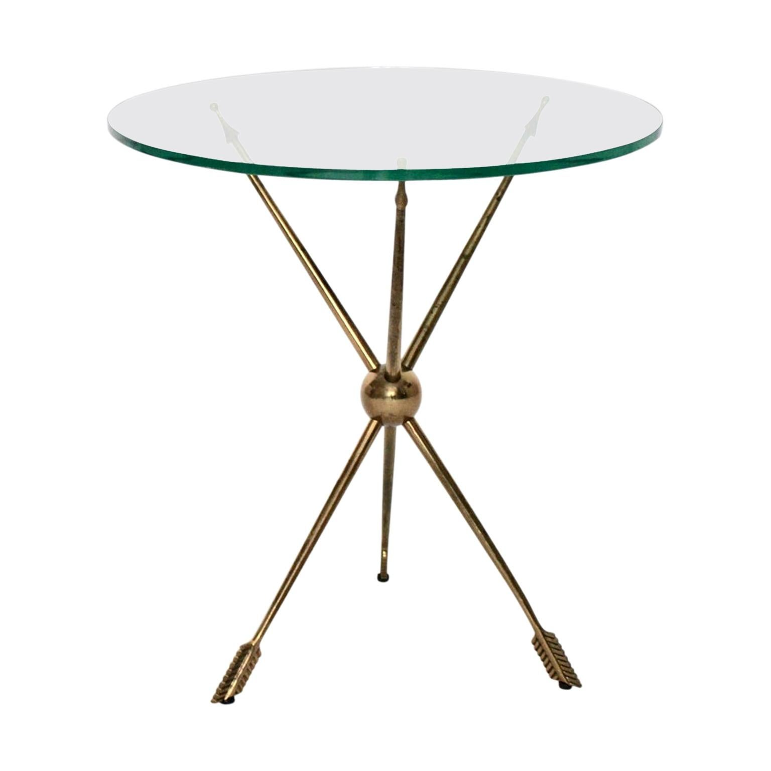 Mid-Century Modern Vintage Glass Arrow Side Table/Occasional Table, 1950s, Italy