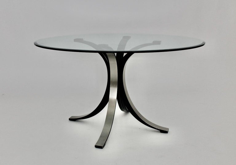 Mid-Century Modern Vintage Glass Metal Dining Table Osvaldo Borsani Tecno, Italy In Good Condition For Sale In Vienna, AT